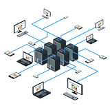 Van het gegevens isometrische reeks en netwerk elementenvector Stock Fotografie