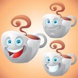 Van het gezichtsuitdrukkingen van de koffiekop het beeldverhaalkarakter Stock Foto