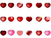 Van het harten vectorembleem en pictogram vastgestelde inzameling vector illustratie