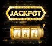 Van het het achtergrond lottoetiket van het potcasino teken Casinopot 777 gokwinnaar met tekst glanzend symbool op wit Stock Foto's