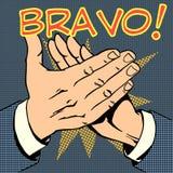 Van het het applaussucces van de handenpalm de tekst Bravo stock illustratie