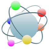 Van het het atoomsymbool van de technologie de kleurrijke elektronen in baan Royalty-vrije Stock Foto