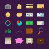 Van het het bankwezenpictogram van geldfinanciën de vastgestelde vlakte Stock Afbeeldingen