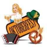 Van het het biermeisje van de Oktoberfestharmonika de pretzelpictogram Stock Foto