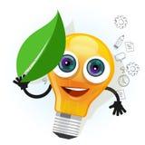 Van het het bladbeeldverhaal van de lampbol de lichte van de het karakterglimlach van het de mascottegezicht gelukkige vectorillu Stock Afbeelding