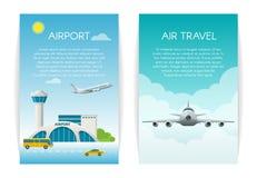 Van het het Conceptenweb van de luchtreis de bannerreeks Aankomst bij de terminal van de luchthavenpassagier en het vliegen comme Stock Fotografie