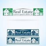 Van het het embleemontwerp van Real Estate de vectorreeks van de het malplaatjekleur Pictogram van het huis het abstracte concept Royalty-vrije Stock Afbeeldingen