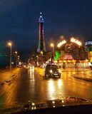 Van het het Genoegenstrand van Blackpool van de nachtengeland het UK de taxiweg Royalty-vrije Stock Foto