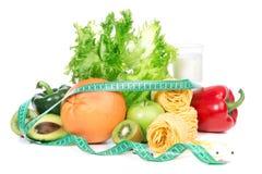 Van het het gewichtsverlies van het dieet het ontbijtconcept met band measur Stock Foto's