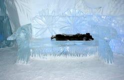 Van het het ijshotel van Quebec de binnenlandse hal Stock Foto's
