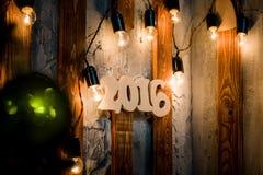 van het het jaar houten aantal van 2016 Kerstmisachtergrond Stock Foto