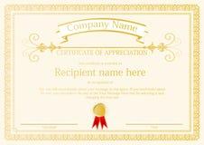 Van het het kadermalplaatje van het toekenningscertificaat het ontwerpvector Stock Fotografie
