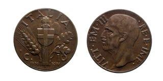 Van het het Kopermuntstuk 1936 van tien 10 centenlires het Imperium Vittorio Emanuele III Koninkrijk van Italië Stock Afbeelding