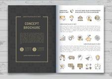 Van het het malplaatje de Elegante merk van het bedrijfsbrochureontwerp van de de identiteitsdekking Vectorillustratie vector illustratie