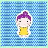 Van het het meisjes de violette haar van de beeldverhaalbaby gele kleding Royalty-vrije Stock Foto's
