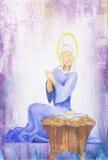 Van het het olieverfschilderijwater van de Kerstmisgeboorte van christus de kleurenmoeder en kind Mary en zuigeling Jesus Royalty-vrije Stock Fotografie