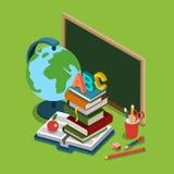 Van het het onderwijs vlakke 3d Web van de schooluniversiteit isometrische infographic Stock Foto