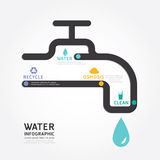 Van het het ontwerpdiagram van het Infographics vectorwater de lijnstyl Stock Foto's