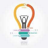 Van het het ontwerpdiagram van Infographics vectorlightbulb de lijnstijl Stock Foto's