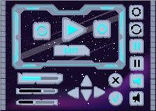Van het het ontwerpgebruikersinterface van het interfacespel de Interfaceknopen voor ruimtespelen worden geplaatst dat of apps ui vector illustratie