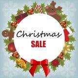 Van het het ontwerpmalplaatje van de Kerstmisverkoop van het de achtergrond babykader Kerstmis Stock Foto