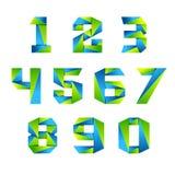Van het het ontwerpmalplaatje van het aantal vastgesteld pictogram de elementen 3d embleem Groen en Blauw Royalty-vrije Stock Afbeeldingen
