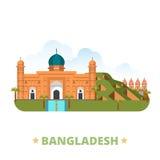 Van het het ontwerpmalplaatje van het land van Bangladesh het Vlakke beeldverhaal st stock illustratie