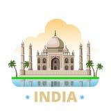 Van het het ontwerpmalplaatje van het land van India Vlakke het beeldverhaalstijl w royalty-vrije illustratie