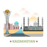 Van het het ontwerpmalplaatje van het land van Kazachstan het Vlakke beeldverhaal st vector illustratie
