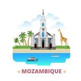 Van het het ontwerpmalplaatje van het land van Mozambique het Vlakke beeldverhaal st Royalty-vrije Stock Foto