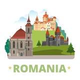 Van het het ontwerpmalplaatje van het land van Roemenië Vlakke het beeldverhaalstijl Stock Foto