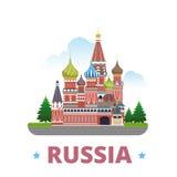 Van het het ontwerpmalplaatje van het land van Rusland Vlakke het beeldverhaalstijl