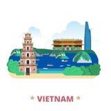 Van het het ontwerpmalplaatje van het land van Vietnam Vlakke het beeldverhaalstijl