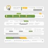 Van het het ontwerpmenu van het websitemalplaatje de navigatieelementen met geplaatste pictogrammen. Stock Fotografie