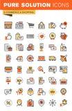 Van het het ontwerpweb van de elektronische handel dunne lijn vlakke de pictogrammeninzameling Royalty-vrije Stock Afbeeldingen