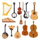 Van het het orkesthulpmiddel van Stringed muzikale instrumenten klassieke het materiaal vectordieillustratie op wit wordt geïsole royalty-vrije illustratie