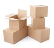 Van het het pakket bewegende vervoer van de kartondoos de leveringsstapel royalty-vrije stock foto