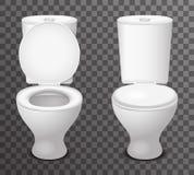 Van het het pictogram realistische ontwerp van de toilet de ceramische zetel open gesloten 3d vectorillustratie Stock Foto