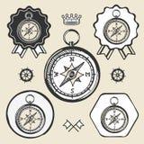 Van het het pictogram vlak Web van de kompas uitstekend plaats van het het tekensymbool het embleemetiket Royalty-vrije Stock Foto's