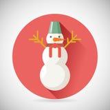 Van het het Pictogramnieuwjaar van het sneeuwmankarakter Kerstmissymbool Stock Afbeelding