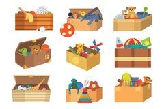 Van het het speelgoedbeeldverhaal van het dozen volledige jonge geitje van het spelkinderjaren leuke grafische van de de babyruim stock illustratie