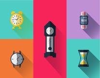 Van het het tekensymbool van het horlogepictogram de vlakke reeks Royalty-vrije Stock Afbeeldingen