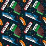 Van het het toetsenbordmateriaal van de synthesizerpiano muzikale naadloze het patroon vectorillustratie vector illustratie