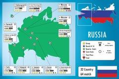 Van het het voetbalstadion van Rusland 2018 de kaart en infographics Royalty-vrije Stock Afbeelding