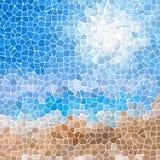 Van het het zandstrand van de mozaïek de blauwe hemel achtergrond van de het patroontextuur met witte pleister vector illustratie