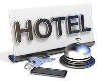Van het van het hotelklok, teken en hotel 3D sleutels Royalty-vrije Stock Afbeeldingen