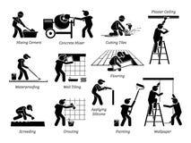 Van het het huisverbetering en Huis Vernieuwingspictogrammen Stock Afbeeldingen