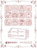 Van het huwelijkspictogrammen en Kader Reeks Royalty-vrije Stock Afbeeldingen