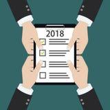 van het het jaarresolutie en doel van 2018 nieuwe bedrijfscontrolelijst die samen plannen royalty-vrije illustratie