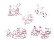 Van het karakterkerstmis van het konijntjes de vastgestelde nieuwe jaar stijl van de de kaartkrabbel royalty-vrije illustratie